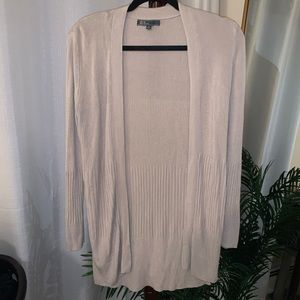 Beige open front ribbed cardigan